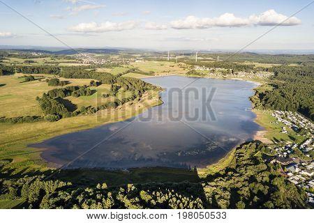 Aerial view of the dam lake Krombach (Krombacher Talsperre) in Westerwald region. Hesse Germany