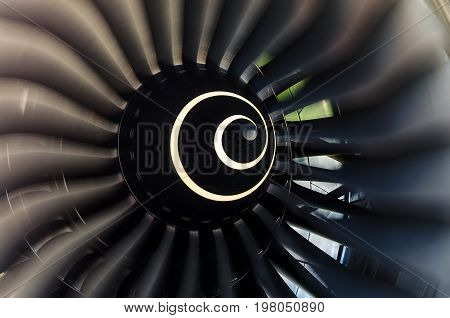 Rotating Blades Of The Blade In The Aircraft Engine Close Up