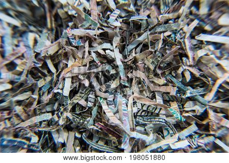 Shredded banknotes. Recycling paper money Bank Russia. Paper texture.