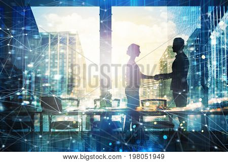 Handshake of two businessperson in a modern office with network effect. concept of partnership and teamwork