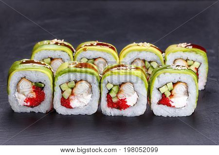 Tasty And Delicious Uramaki Sushi Rolls With Smoked Eel, Unagi S