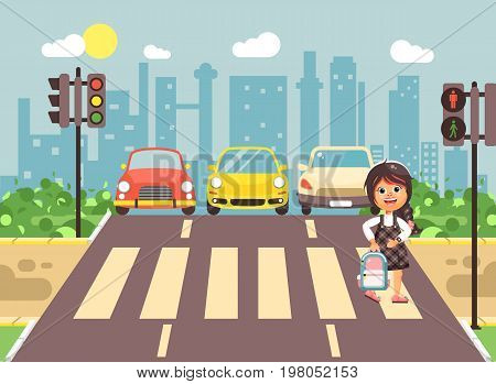 Stock vector illustration cartoon character child, observance traffic rules, lonely brunette girl schoolchild schoolgirl go to road pedestrian zone crossing, city background back to school flat style