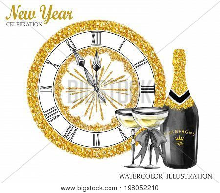 Watercolor retro illustration. Golden luxury style. Hand painted bottle of Champagne, wineglasses, jewellery clock. New Year symbol. Ready for anniversary and holidays design.