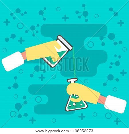 Hands Holding chemistry Science equipment. icon Chemistry laboratory workspace and science concept