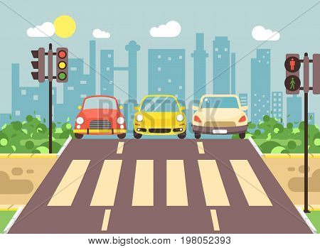 Stock vector illustration of roadside cartoon landscape with roadway, road, sidewalk and empty pedestrian zone with cars crossing flat style city background element for motion design, banner, web site