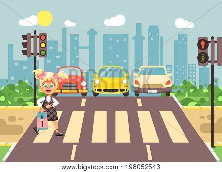 Stock vector illustration cartoon character child, observance traffic rules, lonely blonde girl schoolchild schoolgirl go to road pedestrian zone crossing, city background back to school flat style
