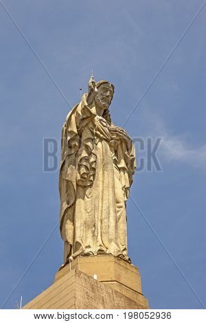 Jesus Christ statue on top of the Urgull mountain in San Sebastian. Basque country Spain
