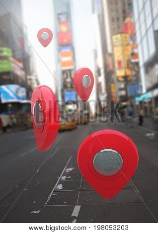 Digital composite of Location pointer markers in city street