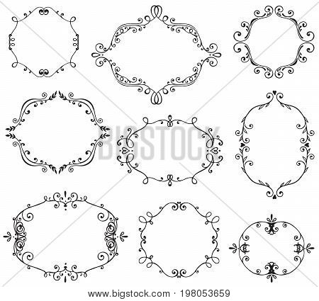 Set of hand drawn frames with vignette, branches with leaves, berries. Vector floral sketch collection. Decorative elements for design. Ink, vintage, rustic.