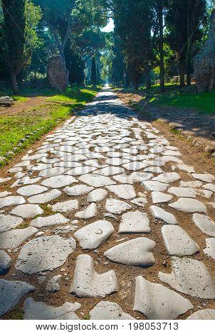 ItalyRome the original pavement of Roman time of Via Appia Antica