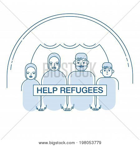 group of immigrants on the background of the tent. thin flat line style