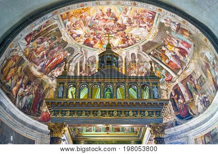Rome Italy - October 9 2008: San Pietro In Vincoli church the frescos of the apse ceiling
