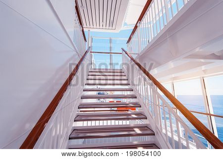 stairs up on sundeck of the luxury yacht on sunny day