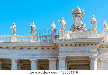 ItalyRome St. Peter square statues of saints on the Bernini's colonnade.