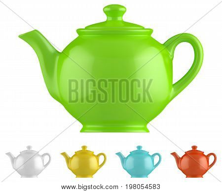 Ceramic teapot set isolated on white background