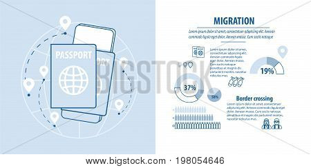 refugees infographic. Arab family social assistance for refugees design template. Refugees immigration concept. Important documents for migrants.