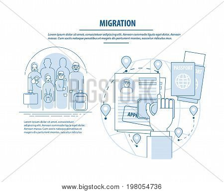 Refugees infographic. Arab family social assistance for refugees design template. Refugees immigration concept. Infographics immigrants and the circle of bureaucratic documents for approval