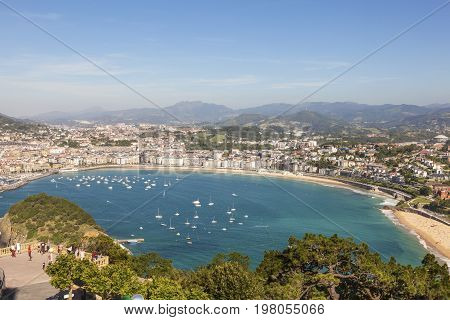 View over La Concha bay and the city of San Sebastian. Basque country Spain