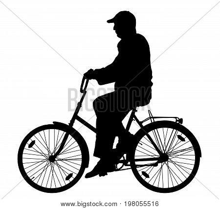 Grandfather on a bicycle , silhouette vector