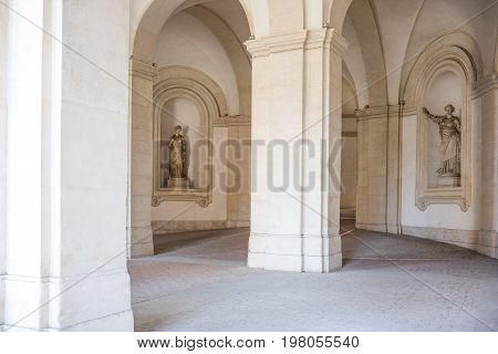 Rome Italy - October 9 2008: The architectures and statues of the Arcade of Palazzo Barberini