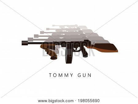 Automatic weapon tommy gun. Thompson submachine gun vector isolated