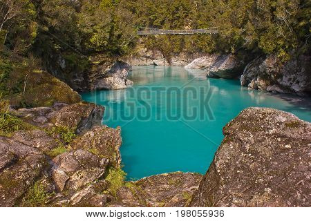 Hokitika Gorge is famous travel stop at the South Island of NZ
