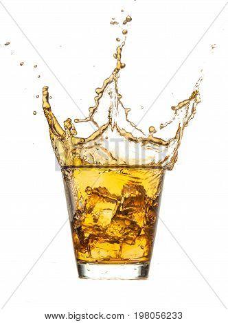 Glass ice splashing whiskey bar color white