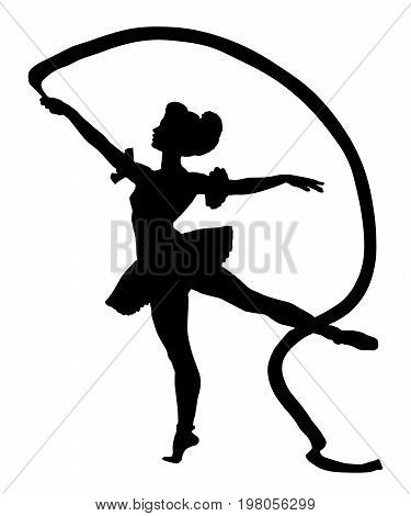 Rhythmic gymnastics silhouette vector on white background