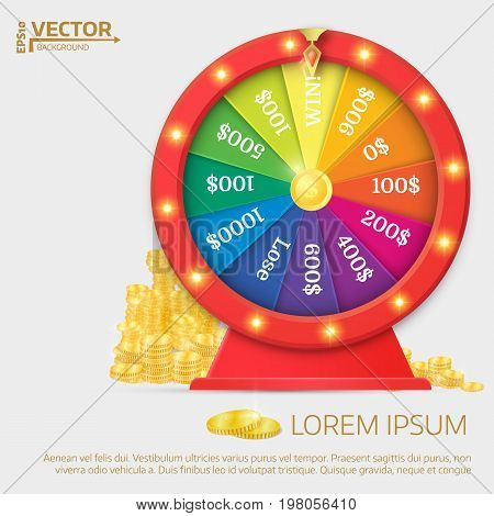 Fortune Spinning Wheel. Gambling Concept, Win Jackpot In Casino