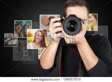 Looking camera photographer young adult man face background view