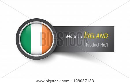 Flag Icon And Label With Text Made In Ireland