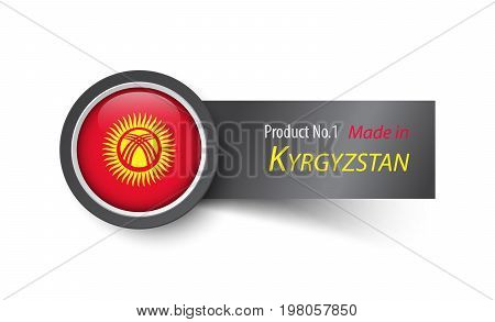 Flag Icon And Label With Text Made In Kyrgyzstan