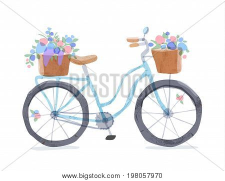 Vector illustration of blue retro bicycle. Types of bike: road bicycle, city, urban bike, old, cruiser. Vintage bicycle in watercolor style. Bike for girl with wooden basket, crate full of flowers.