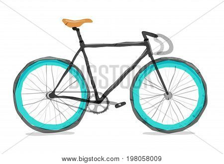 Vector illustration of road bicycle. Types of bike: road bicycle, city, urban bike, fix bike. Bright bicycle in watercolor style. Bicycle isolated. Vector flat modern urban, town and city bicycle.