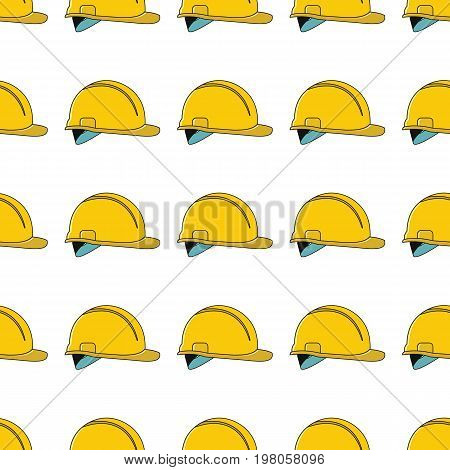 Yellow helmet seamless pattern in cartoon style isolated on white background vector illustration for web