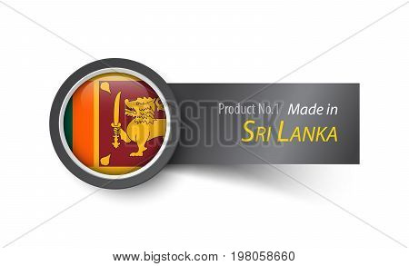 Flag Icon And Label With Text Made In Sri Lanka