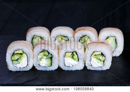 Fresh Delicious Sushi Roll With Cucumber And Cream Cheese, Cover
