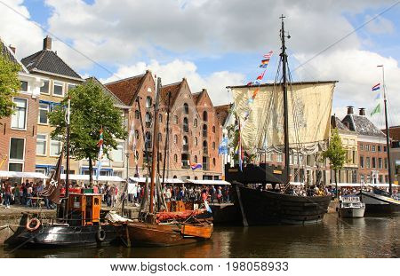 Groningen. July-29-2017. Historic sailing ships at the Hoge der Aa in the city of Groningen. The Netherlands