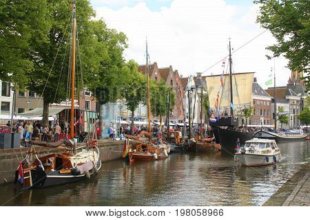 Groningen.July-29-2017. Historic sailing ships at the Hoge der Aa in the city of Groningen