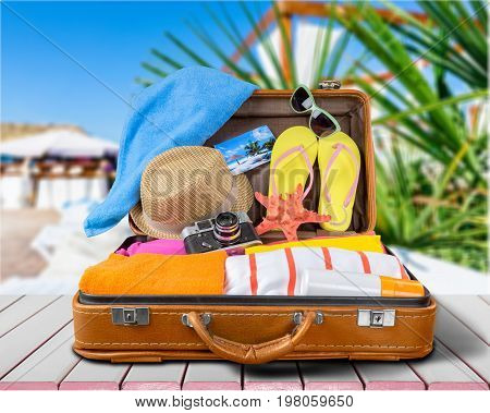 Travel beach case suitcase leisure objects background