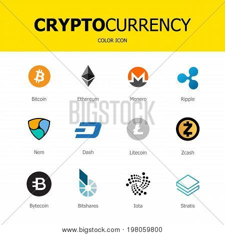 Cryptocurrency blockchain icons isolated white background. Set virtual currency. Vector trading signs: bitcoin ethereum monero ripple litecoindash nem bytecoin stratis zcash bitshares iota.
