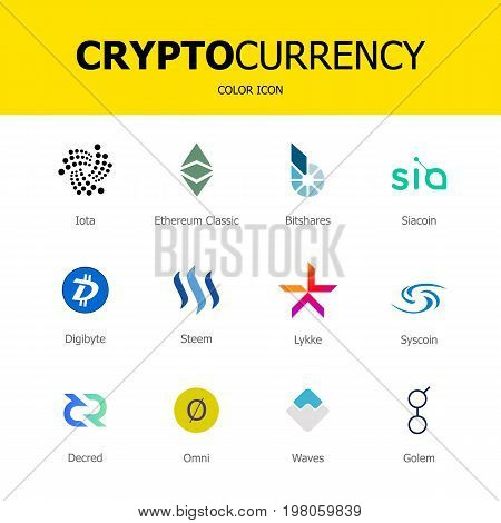 Cryptocurrency blockchain icons. Set of virtual currency.Vector trading signs: ethereum classic bitshares iota siacoin digibyte steem lykke syscoin decred omni waves golem.