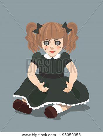 Vector evil doll on dark background, eps 10