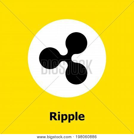 Ripple criptocurrency blockchain flat icon a yellow background. Vector ripple sign.