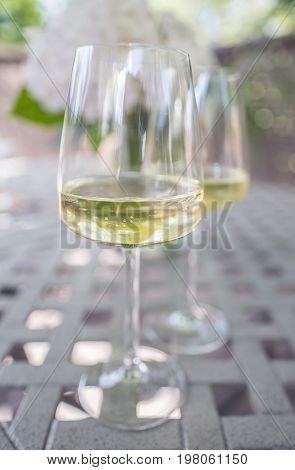 Two Glasses of White Wine on a Garden Table Outdoors