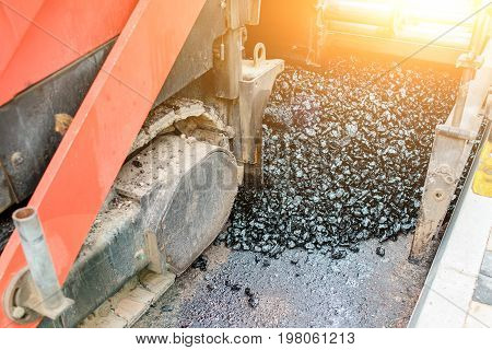 Carrying Out Repair Works: Asphalt Roller Stacking And Pressing Hot Lay Of Asphalt. Machine Repairin