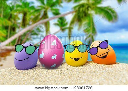 Sunglasses glasses eggs colored eggs leisure colors background