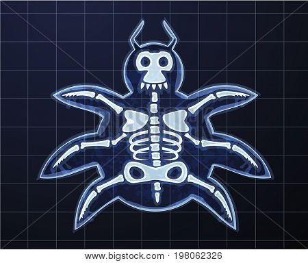 Cartoon image of computer bug in x-rays