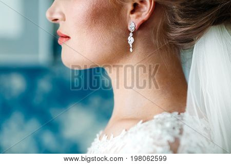 Smiling Bride Is Looking Forward Wedding Ceremony. Unrecognizable Potrait. Morning Preparation. Side