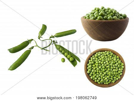 Set of green peas. Green peas isolated on a white background. Vegetables with copy space for text.